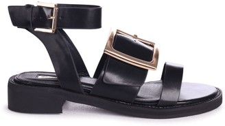 Linzi TRIUMPH - Black Nappa Two Part Sandal With Giant Buckle Detail