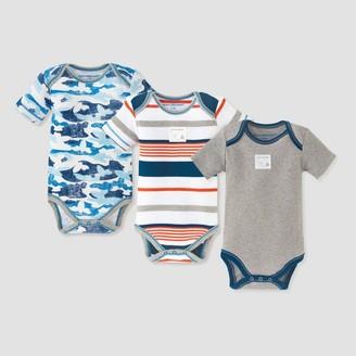 Burt's Bees Baby Baby Boys' 3pk Distressed Bee Camo Bodysuit Set - Blue
