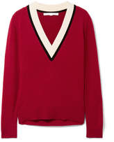 Veronica Beard Barrett Color-block Cashmere Sweater - Claret