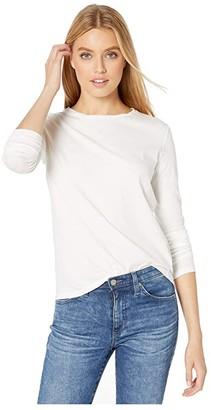 Majestic Filatures Cotton Silk Touch Long Sleeve Crew Neck Tee (Blanc) Women's T Shirt