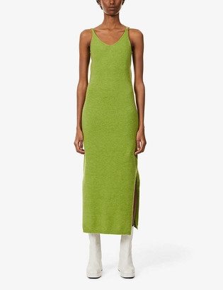 NEVER FULLY DRESSED Scoop-neck knitted midi dress