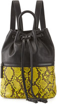 Cynthia Rowley Mara Snake-Embossed Drawstring Backpack, Black/Yellow