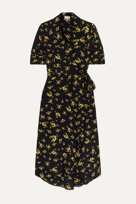 Ganni Floral-print Crepe Wrap Dress - Black