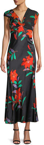 Diane von Furstenberg Floral Silk Asymmetric-Sleeve Knotted Dress