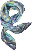 Laura Biagiotti Purple and Blue Floral & Geometric Print Satin Silk Bandana