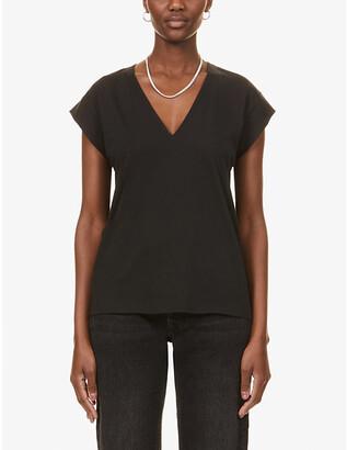 Frame Le Mid Rise V-neck organic cotton T-shirt