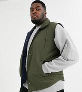 Asos Design DESIGN Plus puffer vest in khaki