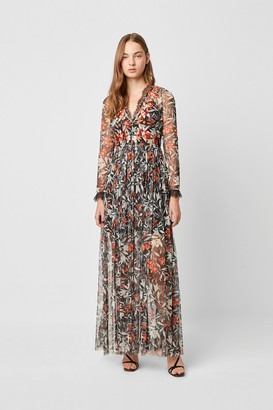 French Connection Flori Embroidered Neck Floral Maxi Dress