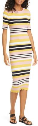 Frame Baja Stripe Cotton & Cashmere Sweater Dress
