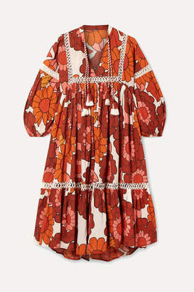 Dodo Bar Or Nell Floral-print Cotton-voile Dress - Orange