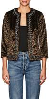 L'Agence WOMEN'S CHAIN-TRIMMED FAUX-FUR JACKET