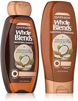 Garnier Whole Blends Haircare - Smooth Shampoo & Conditioner Set - With Coconut Oil & Cocoa Butter Extracts - Net Wt. 12.5 FL OZ (370 mL) Per Bottle - One Set