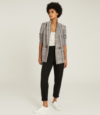 Reiss Haisley - Checked Double Breasted Blazer in Neutral