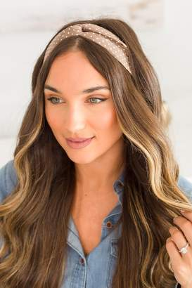 The Mint Julep Boutique More Than Love Brown Polka Dot Headband