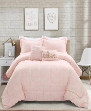 Lush Decor Trio Geo Metallic Print 5-Piece Full/Queen Comforter Set Bedding