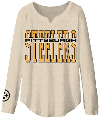Women's Junk Food Oatmeal Pittsburgh Steelers Sunday Historic Logo Tri-Blend Thermal Long Sleeve T-Shirt