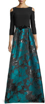 Theia Cold-Shoulder Crepe & Taffeta Evening Gown