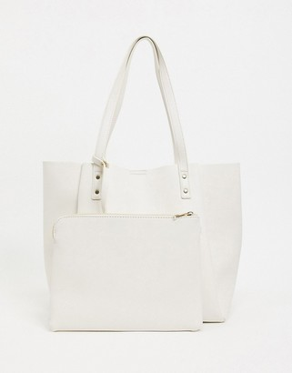 Asos DESIGN bonded shopper bag with removable tablet case in white