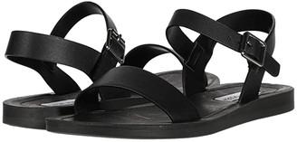 Steve Madden League Flat Sandal (Black Leather) Women's Shoes