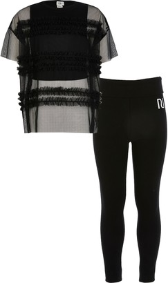 River Island Girls Black mesh oversized T-shirt outfit