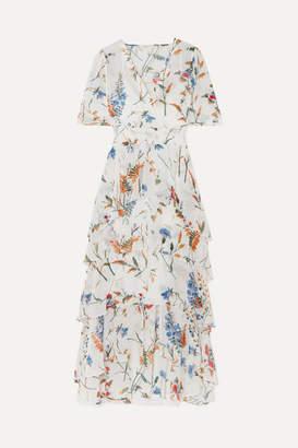 Maje Shirred Floral-print Georgette Midi Dress - White