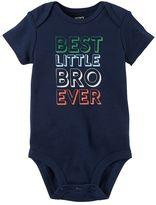 """Carter's Baby Boy Best Little Bro Ever"""" Graphic Bodysuit"""