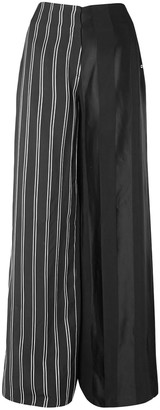 Esteban Cortazar Striped Satin Wide-leg Pants