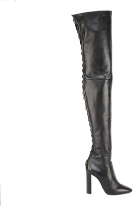Saint Laurent 76 Thigh-high Laced Boots In Smooth Leather
