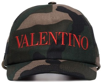 Valentino Camouflage Logo-Embroidered Baseball Cap