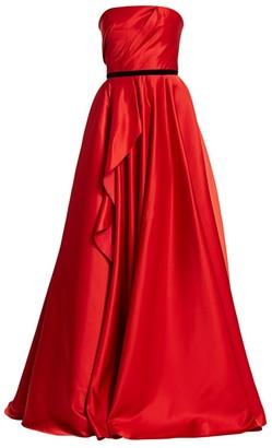 Marchesa Strapless Satin Ruffle Ball Gown