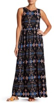 Loveappella Print Boatneck Maxi Dress
