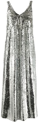 Mulberry V-neck sequin embellished slip dress
