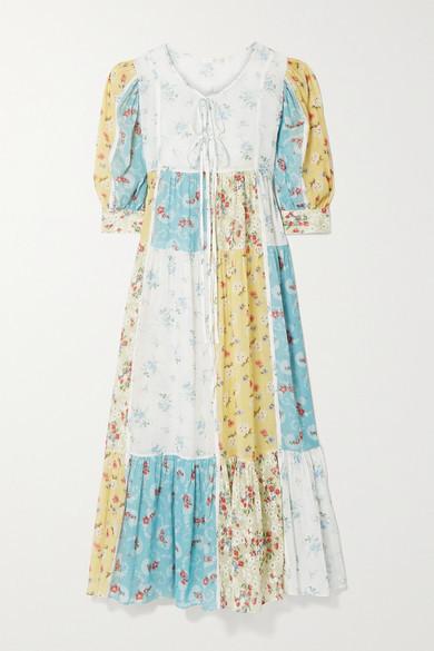 LoveShackFancy Bex Patchwork Floral-print Cotton-voile Maxi Dress - Blue