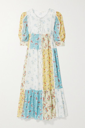 LoveShackFancy Bex Patchwork Floral-print Cotton-voile Maxi Dress - Blue