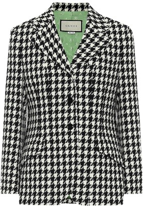 Gucci Wool and cotton houndstooth blazer