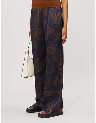 Vince Palm leaf-print wide-leg silk trousers