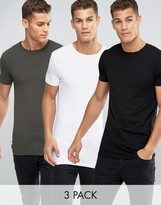 Asos 3 Pack Longline Muscle T-Shirt In White/Black/Green