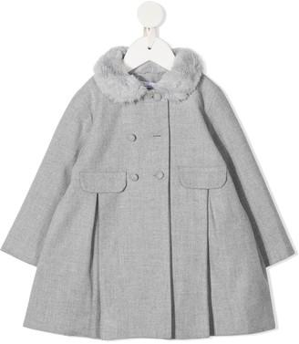 Patachou Faux Fur Trim Double-Breasted Coat