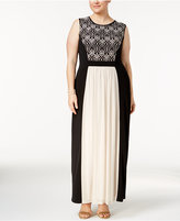 Connected Plus Size Lace-Inset Jersey Gown