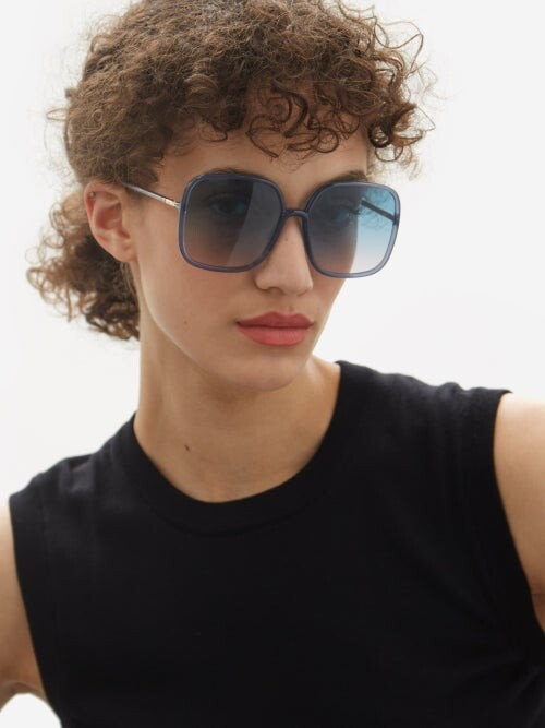 Thumbnail for your product : Christian Dior Diorsostellaire Square Acetate Sunglasses - Blue
