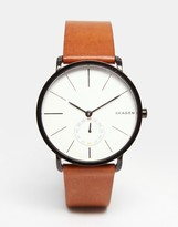 Skagen Hagen Leather Watch In Brown SKW6216