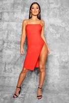 boohoo Petite Jennie Strappy Thigh Split Midi Dress