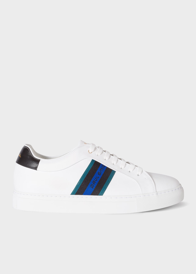 Paul Smith Men's White Leather 'Basso' Sneakers With 'Paul Smith' Webbing Panel