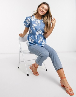 New Look babydoll puff sleeve blouse in blue floral print