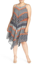 Taylor Chevron Print Popover Dress (Plus Size)