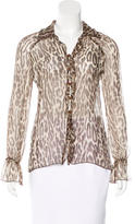 Valentino Leopard Print Long Sleeve Top