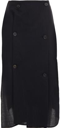 McQ Satin-paneled Button-detailed Wool-twill Wrap Skirt
