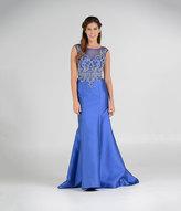 Unique Vintage Royal Blue Embellished Cap Sleeve Long Mermaid Gown