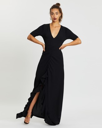 boohoo Ruched Front Open Back Maxi Dress