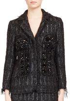 Simone Rocha Crystal-Embroidered Metallic Tweed Jacket